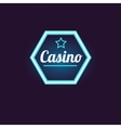 Blue Hexahedron Casino Neon Sign vector image vector image