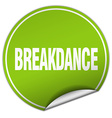 breakdance round green sticker isolated on white vector image vector image