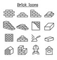 brick icon set in thin line style vector image vector image