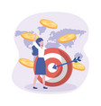 businesswoman and target with arrow and coins vector image vector image