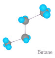butane 3d molecule chemical science cartoon style vector image vector image