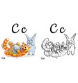 cat alphabet letter c coloring page vector image