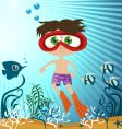children in the sea vector image