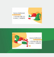 christmas business cards set santa hat costume vector image