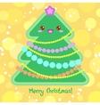 Christmas Card with Christmas Tree in Kawaii style vector image