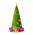 decorated christmas tree with decorations vector image