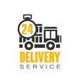 delivery service 24 hours logo design template vector image vector image