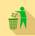 drop garbage in bin icon flat style vector image