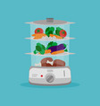 electric food steamer full vegetables and meat vector image vector image