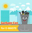 garbage can with e-waste trash vector image vector image