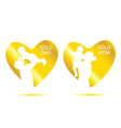 gold dad and mom in heart vector image