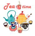 graphic of a tea set vector image