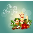 Happy New Year greeting card with candles vector image vector image