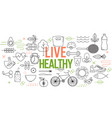 healthy lifestyle template with thin line elements vector image vector image