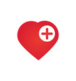 heart icon with add sign favorite symbol plus vector image vector image