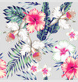 hibiscus and orchids tropical seamless background vector image vector image