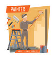 house painter with work tools painting service vector image vector image