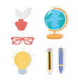 international literacy day school map ink glasses vector image vector image