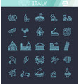 Italy icons set tourism and attractions thin