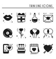 love line icons set happy valentine day vector image vector image