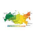 map of time zones by russia gmtutc vector image vector image