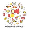 Marketing Strategy Line Art Thin Icons vector image vector image