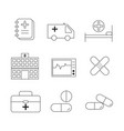 medical black and white outline icons set vector image vector image