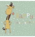 New Year Card with Cartoon Horse vector image vector image