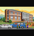 parents picking up kids from school vector image vector image