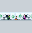 peole team sitting office working desk lunch break vector image