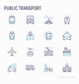 public transport thin line icons set vector image