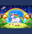 rainbow unicorn in a fantasy landscape vector image vector image