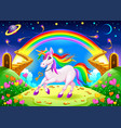 rainbow unicorn in a fantasy landscape with vector image