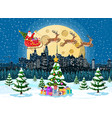 santa claus rides reindeer sleigh vector image vector image