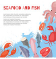 seafood and fish flat cartoon banner vector image vector image