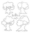 set of cartoon contour trees isolated on white vector image vector image