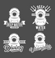 set of diving vintage labels and logos vector image