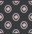 shabby chic rose seamless pattern on black polka vector image vector image