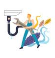 sink leakage and plumber in overalls with wrench vector image