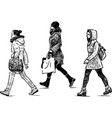 sketch casual city girls going down street vector image vector image
