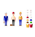 smart engineer worker in character set vector image