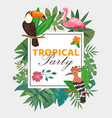 tropical party poster with birds in exotic nature vector image