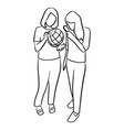 two women holding world globe and magnifying vector image