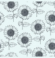 vintage pattern with outline pen sunflowers vector image vector image