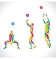 volleyball silhouettes rainbow collection vector image vector image