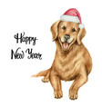 watercolor retriever in santa claus hat vector image