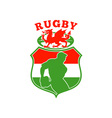 welsh rugby player wales dragon shield vector image vector image