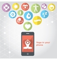 Yoga in your phone - healthy lifestyle vector image