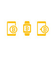 mobile payments with bitcoin vector image