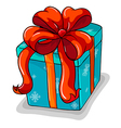 A blue gift with a red ribbon vector image